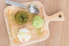 Grönt te Lava Cake fotografering för bildbyråer