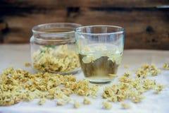 Grönt te med jasmin i kopp och tekanna på trätabellen på grön bakgrund Fotografering för Bildbyråer