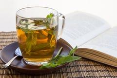 Grönt te och sidor av mintkaramellen i en glass kopp med en bok Arkivbilder