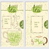 Grönt te: rekvisita och vård- fördelar royaltyfri illustrationer