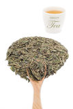 Grönt teblad med en kopp te Arkivfoton