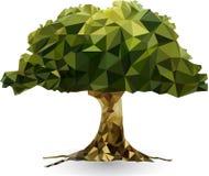 Grönt träd i en triangulär stilillustration Arkivfoton