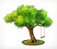 Grönt träd och gunga royaltyfri illustrationer
