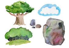 Grönt träd och stenar royaltyfri illustrationer
