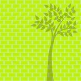 Grönt träd på grön tegelstenbakgrund Vektor Illustrationer