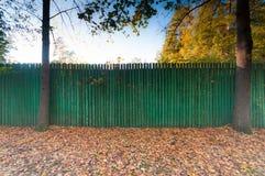 Grönt trämålat staket i gatan Höstsidor nära staketet under träd royaltyfri fotografi