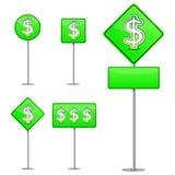 grönt vägmärke för dollar Arkivbilder