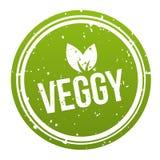 Grönt Veggy emblem - strikt vegetarianknapp Vektor Eps10 royaltyfri illustrationer