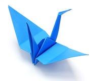Grúa azul del papel del origami Fotografía de archivo