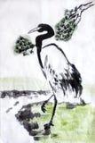 Grúa china de la pintura del agua de la caligrafía Foto de archivo libre de regalías