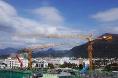 Grúa, construcción del edificio Fotos de archivo