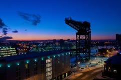 Grúa de Finnieston, Glasgow en la puesta del sol Imagen de archivo libre de regalías