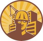 Grúa del edificio del trabajador de construcción retra Imagen de archivo libre de regalías