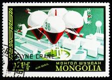 Grúa del vuelo, haber planeado francesa, correo aéreo, historia del serie de los dirigibles, circa 1977 fotos de archivo libres de regalías