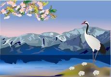 Grúa en paisaje de la montaña libre illustration