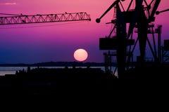 Grúa en puesta del sol Imagenes de archivo