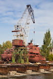 Grúa grande de la construcción naval imagen de archivo libre de regalías