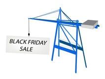 Grúa móvil azul con la cartelera de Black Friday Imagen de archivo libre de regalías