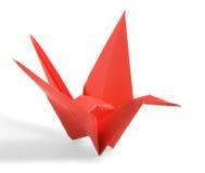 Grúa roja de Origami Imágenes de archivo libres de regalías