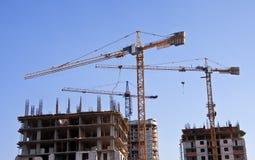 Grúas de construcción Foto de archivo libre de regalías