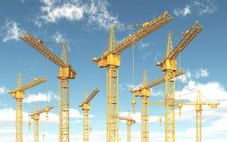 Grúas de construcción contra un cielo azul con las nubes stock de ilustración