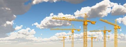 Grúas de construcción contra un cielo azul con las nubes ilustración del vector
