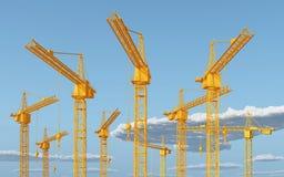 Grúas de construcción contra un cielo azul con las nubes libre illustration