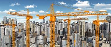 Grúas de construcción delante de rascacielos libre illustration