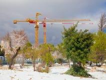 Grúas de construcción en primavera temprana Imagenes de archivo