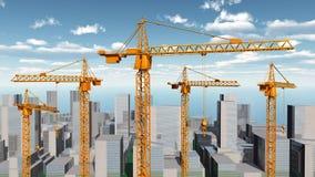 Grúas de construcción en un paisaje de la ciudad Fotografía de archivo