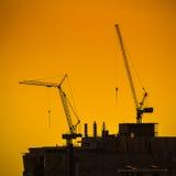 Grúas de construcción industriales Foto de archivo libre de regalías