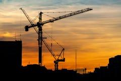 Grúas de construcción industriales en la puesta del sol Foto de archivo