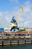 Grúas del cargo en el puerto de Klaipeda Imagen de archivo libre de regalías