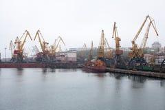 Grúas del cargo, puerto marítimo de Odessa foto de archivo libre de regalías