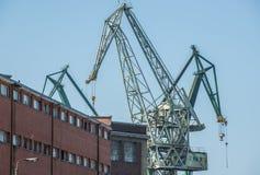 Grúas en Gdansk Imágenes de archivo libres de regalías
