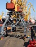 grúas en puerto industrial Imagen de archivo