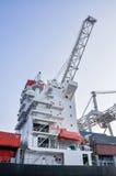 Grúas grandes del puerto del cargo del mar Fotografía de archivo