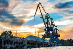 Grúas industriales en el puerto Fotografía de archivo