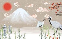 Grúas japonesas en la puesta del sol en invierno ilustración del vector