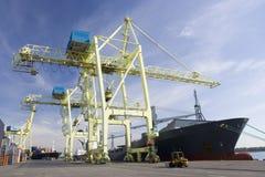 Grúas portuarias que descargan una nave Fotografía de archivo libre de regalías