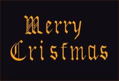 Grüße am bevorstehenden Feiertag von Weihnachten in der Goldfarbe stock abbildung