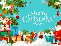 Grüße der frohen Weihnachten mit Sankt-Geschenken, Vektor lizenzfreie abbildung