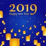 Grüße des neuen Jahres für Jahr 2019 mit hellem blauem Himmel mit dem Glühen spielt mit gelben Lichtern und fliegenden chinesisch stock abbildung
