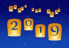 Grüße des neuen Jahres für Jahr 2019 mit hellem blauem Himmel mit dem Glühen spielt mit gelben Lichtern und fliegenden chinesisch lizenzfreie abbildung