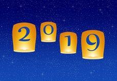 Grüße des neuen Jahres für Jahr 2019 mit hellem blauem Hintergrund mit dem Glühen spielt mit gelben Lichtern und fliegendem chine stock abbildung