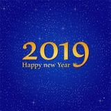 Grüße des neuen Jahres für Jahr 2019 mit hellem blauem Hintergrund mit dem Glühen spielt mit gelben Lichtern mit Zahl die Hauptro vektor abbildung