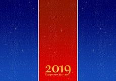 Grüße des neuen Jahres für Jahr 2019 mit hellem blauem Hintergrund und rotem Streifen mit glühenden Sternen mit gelben Lichtern m vektor abbildung