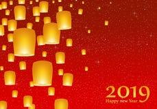 Grüße des neuen Jahres für Jahr 2019 mit hellem rotem Himmel mit dem Glühen spielt mit gelben Lichtern und fliegenden chinesische vektor abbildung