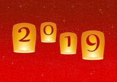 Grüße des neuen Jahres für Jahr 2019 mit hellem rotem Hintergrund mit dem Glühen spielt mit gelben Lichtern und fliegender chines stock abbildung