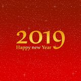 Grüße des neuen Jahres für Jahr 2019 mit hellem rotem Hintergrund mit dem Glühen spielt mit gelben Lichtern mit Zahl die Hauptrol vektor abbildung